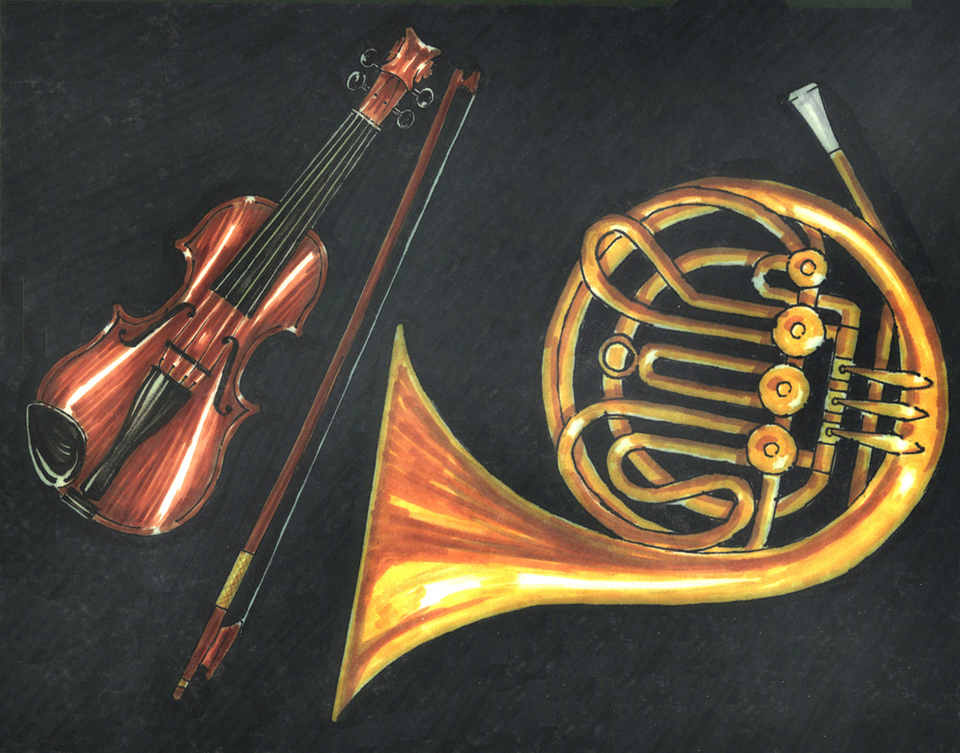 illustration-mixed-media-french-horn-violin